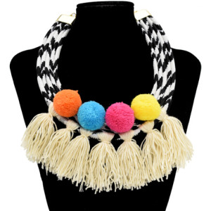 N-7077 Vintage Cloth Alloy Ball Tassel pendant Necklace Accessories For Women Jewelry