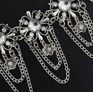 N-7081 * Vintage Silver Flower Waist Chain Hollow out Body Chain Summer Beach Body Waist Chain Jewelry