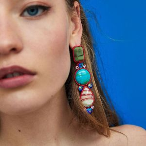 E-4729 Vintage Big Statement Earring Bohemian Resin Rhinestone Geometry Drop Earrings