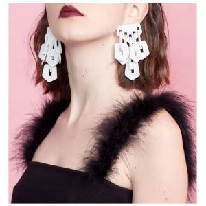 E-4727 2 Colors Square Shape Enamel Tassel Elegant Trendy Earring For Women