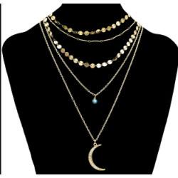 N-7082 Fashion Gold Metal Rhinestone Evil Eye Multilayer Moon Pendant Tassel Necklace Party Jewelry