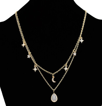 N-7082 Fashion Gold Metal Rhinestone Evil Eye Multilayer Moon Pendant Tassel Necklace Party Jewelry