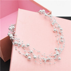 N-7079 2 Colors Silver-Glated White Beads Summer Women  Choker Necklace Jewelry Design