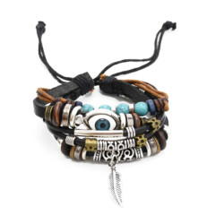 B-0900 Punk European Style Men & Women Vintage Retro Indian Beads Leaf Eyes Leather Bracelet Wide Multilayer Adjustable Rope Bracelet