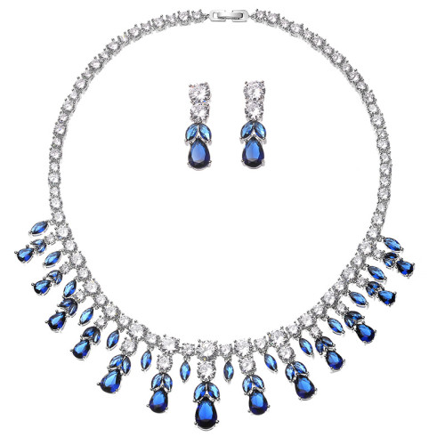 N-7051 5 Colors Elegant 3A Zircon Bride Weeding Party Necklace Earring Jewelry Set