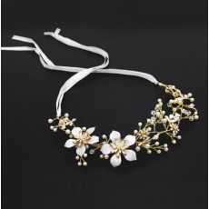 F-0495 Fashion Lace Flowers Crystal Pearl Beads Silk Chain Hairband Bridal Wedding Hair Accessories Jewelry