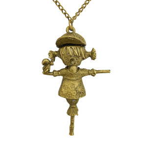 N-2852 New Bronze  Girl Of Emblement Jackstraw Pendant Necklace Jewelry