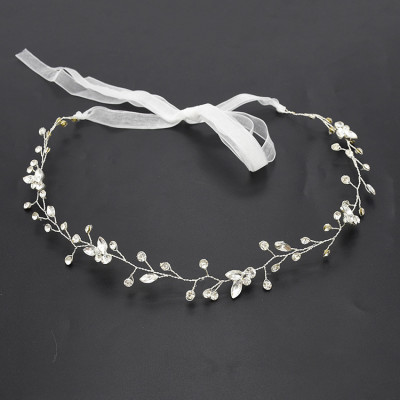 F-0496 Bridal Wedding Hair Accessories Jewelry Fashion Copper Alloy Lace Flowers Crystal Silk Chain Hairband