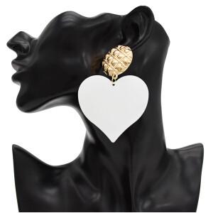 E-4733 New Fashion Gold Metal Big Heart Drop Earrings for Women Bohemian Wedding Party Jewelry
