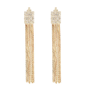 E-0082 Fashion Simple Rhinestone Drop Earrings Tassel Earring OL Style