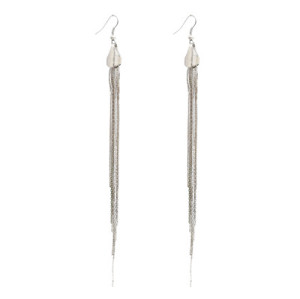 gun black/silver tone long fringe dangle earring E-0079