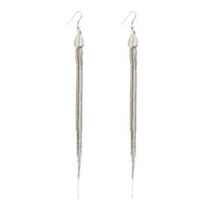gun black/silver tone long fringe dangle earring E-0079