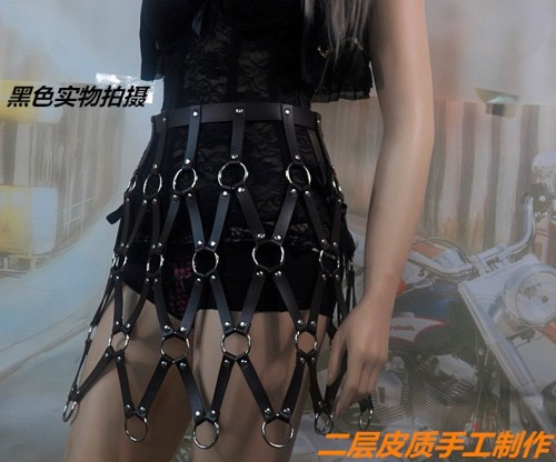 N-7083 Sexy Black Leather Alloy Button Body Harness Dress Jewelry For Women