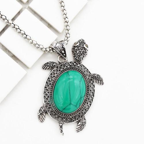 N-5866 New Arrival Tibetan Silver Alloy Inlay Turquoise Tortoise Pendant Necklace Earrings Bracelet Set  For Women