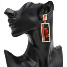 E-4732 4 colors Bohemian crystal Geometric Shape Square Pendant Drop Earrings Stud Earring Wedding Bridal Ear Jewelry