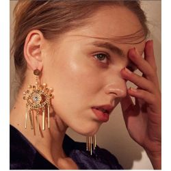 E-4731 Fashion Devil Eye Big Earrings Tassel Crystal Drop Earrings Colorful Rhinestone Studs Earring
