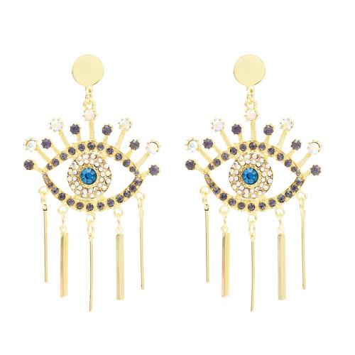 E-4731 Fashion Devil Eye Big Earrings Tassel Crystal Drop Earrings Colorful Rhinestone Studs Earring