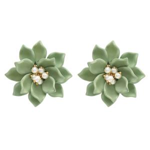 E-4734 Korean Style Big Acrylic Pearl Beads Flower Stud Earrings