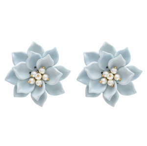 E-4734 Korean Style Big Acrylic Pearl Beads Flower Stud Earrings