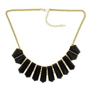 N-0759 New vintage style gold metal geometry gem tassels pendant necklace