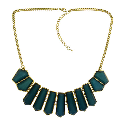 N-0759 New vintage style gold metal geometry gem tassels pendant necklace
