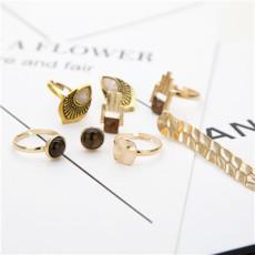 R-1498 Trendy Earring&Ring Gold Alloy Rhinestone Jewelry Set For Women