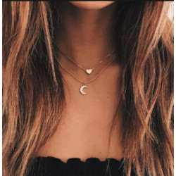 N-7086 New Trendy Coin Moon Heart Shape Pendant Necklaces for Women Boho Wedding Party Jewelry Gift