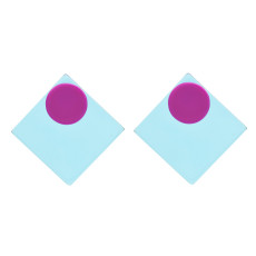E-4742 Korean Style Fashion Jewelry Square Shape Geometric Stud Earrings