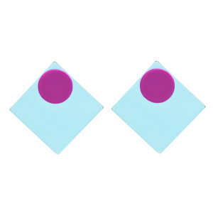 E-4742 Korean Style Fashion Jewelry Square Shape Geometric Stud Earrings