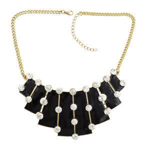 N-1784 Big Rhinestone Enamel Golden Chunky Bib Geometry Pendant Necklace