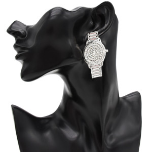 E-4736 Fashion Crystal Watch Shape Crystal Silver Plated Fashion Ear Studs Earrings for Women