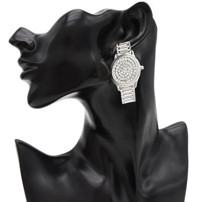 E-4736 Fashion Crystal Watch Shape Crystal Silver Plated Fashion Ear Studs Earrings for Women