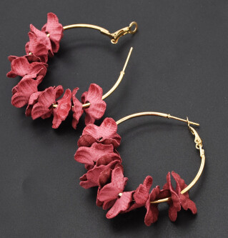 E-4740 Cute Gold Metal Flower Shape Circle Hoop Earrings for Women Boho Wedding Party Jewelry Gift