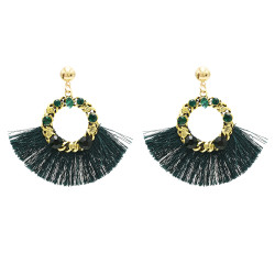 E-4748 Bohemian Statement Drop Earrings Rhinestone Thread Fringe Earring