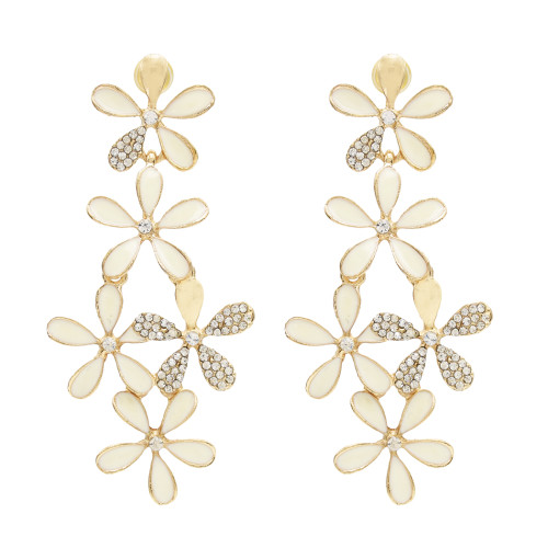 E-0120  European style Flower Crystal  Gold Plated Alloy Long Drop Stud Earring For Women Jewelry E-0124