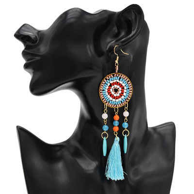 E-4746 4 Colors  Round Small Beads Alloy Tassel Drop Dangle Earrings Jewelry