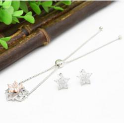 B-0902 E-4758 1 Colors Elegant 3A Zircon Star Rhinestone Jewelry Set For Bride Wedding Party Bracelet Earring