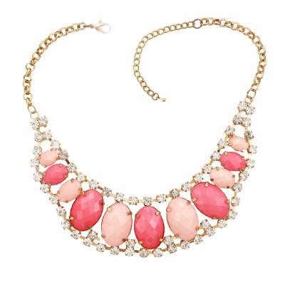N-0566 New European style golden rhinestone geometry oval gem crescent bib necklace
