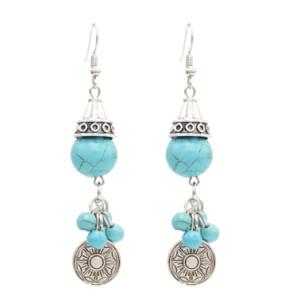 E-4749 2 Styles  Bohemian Ethnic Earrings Turquoise Beads Tassel Drop Earrings Round Coins Pendant  Dangle Earrings Jewelry