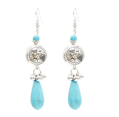 E-4749 2 Styles  Bohemian Ethnic Earrings Turquoise Beads Tassel Drop Earrings Round Coins Pendant  Dangle Earrings Jewelry