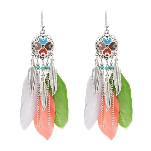 E-4747 Vintage Bohemian Drop Dangle Earrings Alloy Leaves Pendant Feather Earring