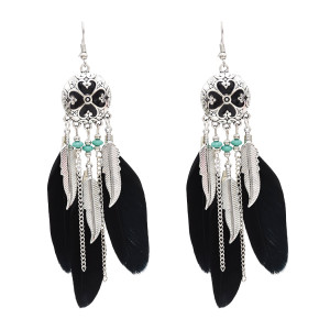 E-4747 Vintage Bohemian Drop Dangle Earrings Alloy Leaves Pendant Feather Earring