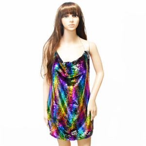 N-7084 Trendy Sexy Camisole Fish Scale Sequins Dress For Women Jewelry Design
