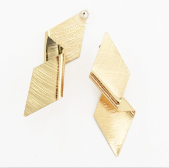 E-4751  2 Colors Fashion Personality Flod  Gold Silver Plated Geometric Rhombus Ear Studs Earrings for Women