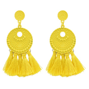 E-4756 Vintage Bohemian Drop Dangle Earrings Tassel Baking Varnish Fringe Earring