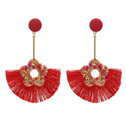 E-4754 Bohemian Thread Long Drop Statement Earrings Fringe Earring Stud