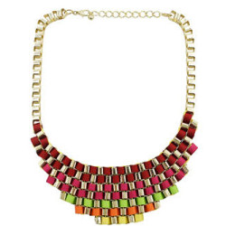 N-1511 Europe Style Noble Gold Plated Multilayer Colorful Ribbon Stripe Weave Necklace