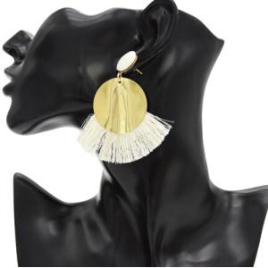 E-4765 6 Colors Fashion Gold Metal Statement Drop Dangle Earring Acrylic Tassel Thread Long Earrings for Women Bridal Jewelry