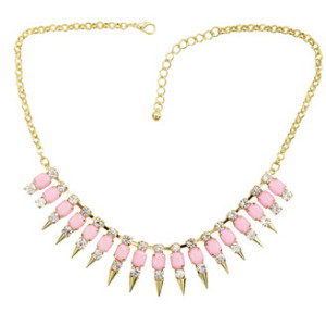 N-1255 New Punk Rock Crystal Square Resin Stone Gem Spike Rivet Choker Bib Necklace