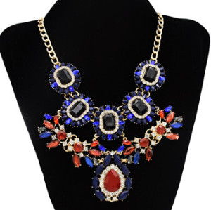 N-3049 Vintage Style Gold Plated Alloy chains adjustable crystal resin rhinestone drop flower choker necklace